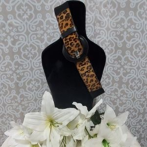 Chicos Leopard Print Stretchy Belt Size S